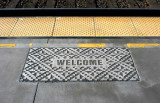 Welcome mat on the platform