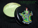 Green candle tin with paint folklorico dancer
