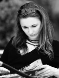 Young woman reading in monochrome
