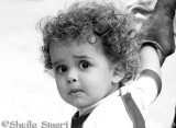 Beautiful child in black and white