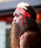 Profile of Australian aboriginal busker