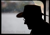 Man on ferry silhouette