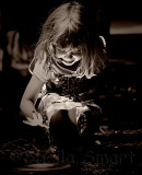 Little girl with uplight with filter