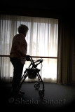 Silhouette of elderly lady