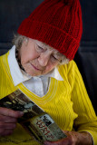 Colourful  elderly lady on ferry