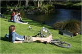 Relaxing by the Avon River Christchurch.