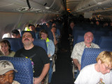 sitting in the plane for a hour prior to take off  (mechanical problems)