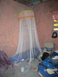 mosquito net and cot