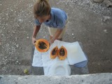 cutting up fruit