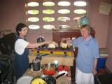 Martha and Nancy making toast