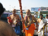 Swamiji Arriving for celebration onhis right is Krishnaswami Mama and on his left is Girish Bhatt