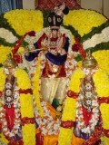 Perumal with Sri and bhu devi kannan thiurkkolam (all decorations where borrowed from nearby temples).JPG
