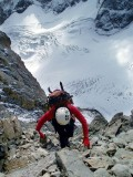 Climbing to Temple Col from Glacier Noir, Ecrins