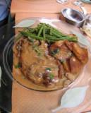 Roast pork with mushroom sauce