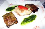 A fish dish (raie) with eggplant terrine