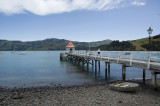 View of the pier and harbor in Akaroa