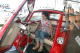 Sam trying out a BMW Isetta from the 1950s