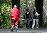 Red biker comes across some actual walkers.