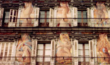 Paintings on the balcony walls at Plaza Mayor in Madrid