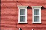 Red house, white windows