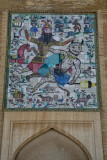 Rostam, the mythical hero of Iran fighting a demon.
