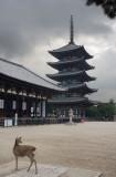 pagoda and deer