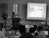 ISU College of Engineering students explaining steel bridge project P1010196.JPG
