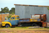 Old yellow blue truck