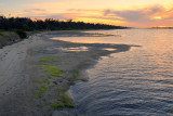Lake beach sunset