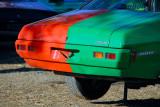 Jacked up half green car ~