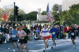 Flag bearer at the Lincoln Memorial