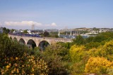 IMG_2820.jpg Diesel Engine on Coombe Viaduct with Tamar road and rail bridge in background - Saltash - © A Santillo 20110