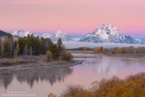 Oxbow Bend autumn pink sunrise