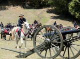 horse galloping up to cannon
