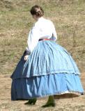 woman big blue hoop skirt