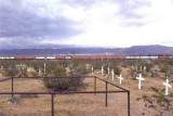 Daggett Cemetery and train
