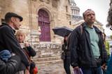 Chris of Paris Walks indicates shooting location for Midnight in Paris
