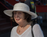 My wife Anne wearing her new straw hat.  See below for another image.