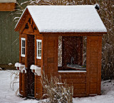 Little peoples house in the snow