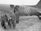 512 Squadron Dakota Mk III, HC-AT (RAF Serial No. KG330), lands at the Brussels Airport to repatriate Belgian nationals from Germany—both slave labourers and former concentration camp inmates. This 512 Squadron aircraft brought in the infantry and airborne commandos that fought to free them and then brought them back home—an honourable history if there ever was one. And in an unlikely coincidence, KG330 is still flying today from Yellowknife, Northwest Territories, Canadian registered as C-GWZS and a television star flying for the cameras for the hit reality series Ice Pilots NWT. KG330 also flew paratroopers on D-Day, but Southgate's logbook indicated that he did not fly KG330, but he flew the next in line, KG331. Photo: Imperial War Museum