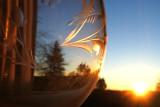 Sunrise through a cut galss goblet