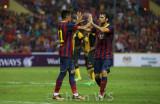 Neymar and Cesc Fabregas high five
