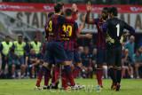 Barcelona celebrates their third goal