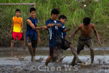 Football in the mud