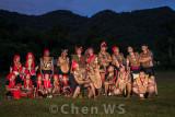 Bidayuh girls and men in traditional costume