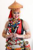 Bidayuh girl in full traditional costume
