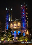 Walking at night in the city... Basilique Notre-Dame de Montreal