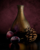 Plums with Gilded Vase