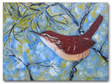 Morning Wren acrylic and oil 18x24