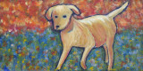 Yellow Dog acrylic on canvas 10x20